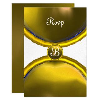 MAGIC RINGS ,MONOGRAM rsvp gem yellow silver 9 Cm X 13 Cm Invitation Card
