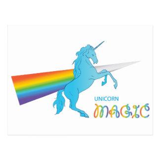Magic Unicorn with rainbow Postcard