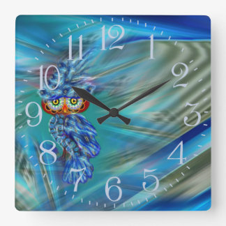 Magical Blue Plumage Fashion Owl Wall Clock