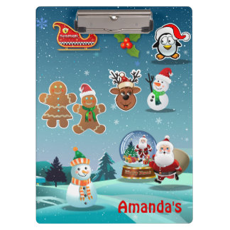 Magical Holiday Winter Night Cartoon Clipboard