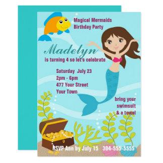 Magical Mermaids Pool Party 13 Cm X 18 Cm Invitation Card