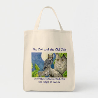 Magical owl and old oak shopping bag