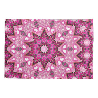 Magical Pink Faerie Rose Healing Mandala Fractal Pillowcase