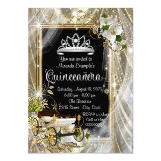 Magical Princess Black and Gold Quinceañera 11 Cm X 16 Cm Invitation Card