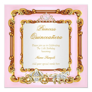 Magical Quinceanera Pink Gold Horse Carriage Card