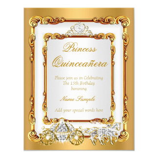 Magical Quinceanera White Gold Horse and Carriage Card