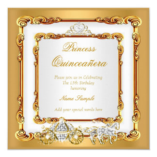 Magical Quinceanera White Gold Horse Carriage 2 Card