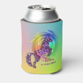 Magical Rainbow I Believe In Unicorn Themed Can Cooler