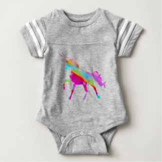 Magical sparkly rainbow prancing unicorn baby bodysuit