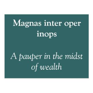 Magnas inter oper inops post card