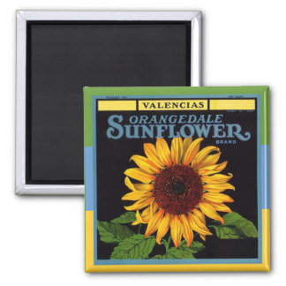 MAGNET ~ VINTAGE Fruit Crate Advertising Sunflower