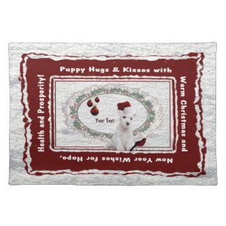 Magnificently Lovable Westie Puppy Cotton Placemat