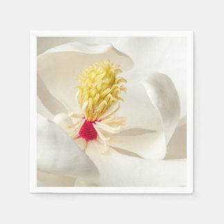 Magnolia Flower White Magnolias Floral Blossom Disposable Napkins