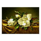 Magnolias on Gold Velvet Cloth, fine art painting Poster