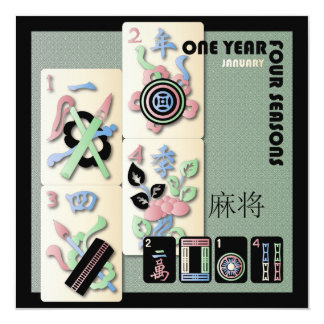 Mah Jongg 2014 Pastel January Card/Invitation 13 Cm X 13 Cm Square Invitation Card