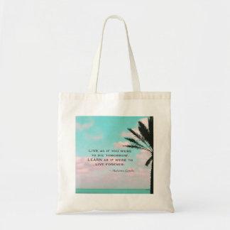 Mahatma Gandhi Quote, Tropical Beach,Inspirational Tote Bag