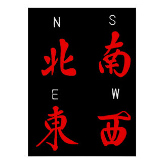Mahjong Winds,Honor Suit,North,South,East,West (c) Poster