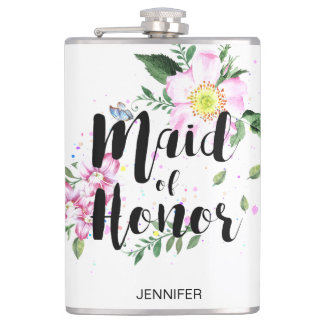 Maid of Honor Pink Floral Watercolor Bridal Shower Hip Flask