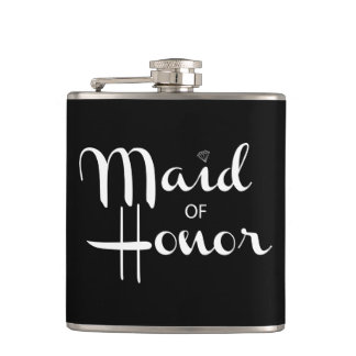 Maid of Honor Retro Script White Hip Flask