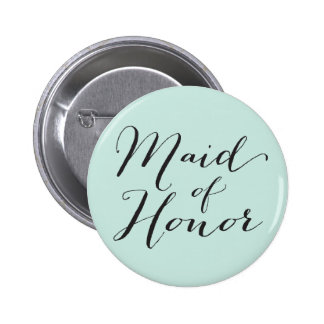 Maid Of Honor Script Chic Wedding Bridal Party 6 Cm Round Badge