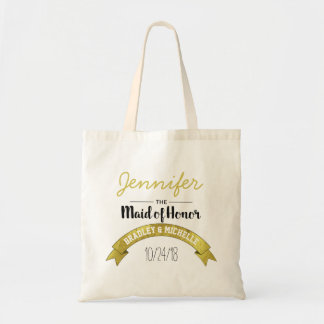 MAID OF HONOR WEDDING TOTE BAG | GOLD GLAMOUR
