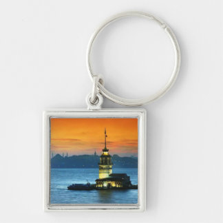 Maiden's Tower 2 Silver-Colored Square Key Ring