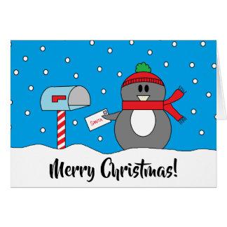 """Mailbox Penguin"" Christmas Card"