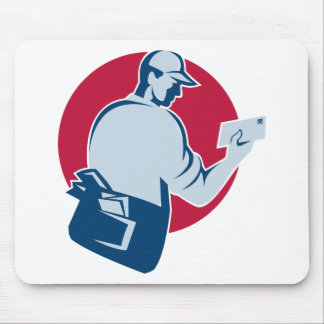 mailman postman deliver mail envelope retro mouse pad
