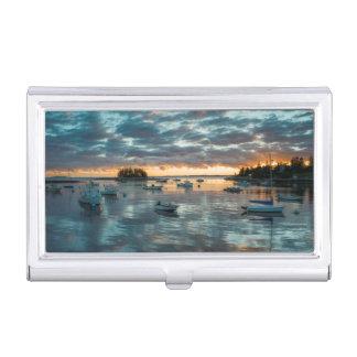 Maine, Newagen, sunset harbor 1 Business Card Cases