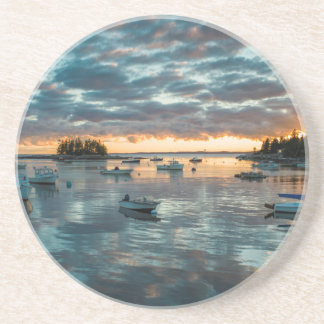 Maine, Newagen, sunset harbor 1 Drink Coasters