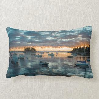 Maine, Newagen, sunset harbor 1 Lumbar Pillow