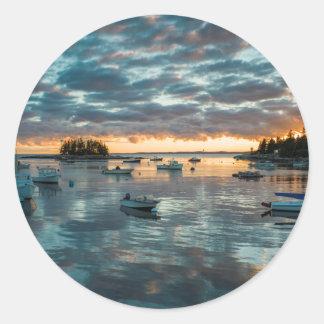 Maine, Newagen, sunset harbor 1 Round Sticker