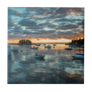 Maine, Newagen, sunset harbor 1 Small Square Tile