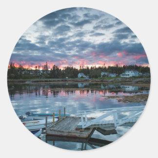 Maine, Newagen, sunset harbor 2 2 Round Sticker