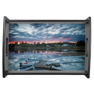 Maine, Newagen, sunset harbor 2 2 Service Trays