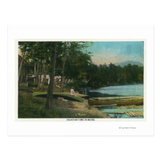 MaineView of a Woman on a Canoe by the Shore Postcard