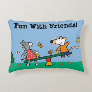 Maisy and Dotty Seesaw at the Playground Decorative Cushion