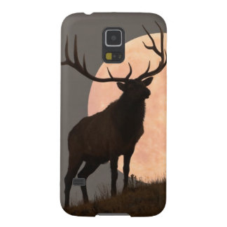 Majestic Bull Elk and Full Moon Rise Galaxy S5 Cases
