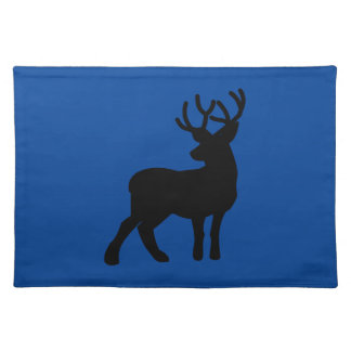 Majestic Deer Silhouette - Black on Navy Blue Placemat