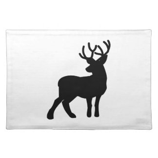 Majestic Deer Silhouette - Black Placemat