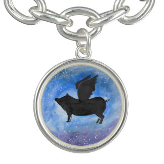 Majestic Flying Pig Charm Bracelet