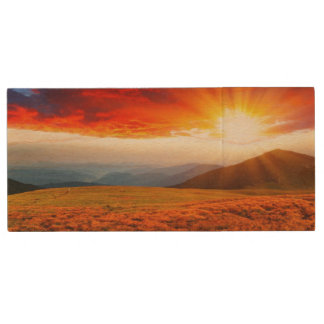 Majestic sunset in the mountains landscape 5 wood USB flash drive
