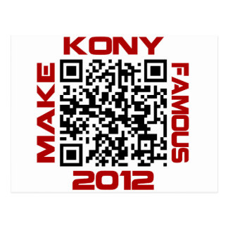 Make Kony Famous 2012 Video QR Code Joseph Kony Postcard
