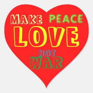 MAKE LOVE NOT WAR Heart Sticker