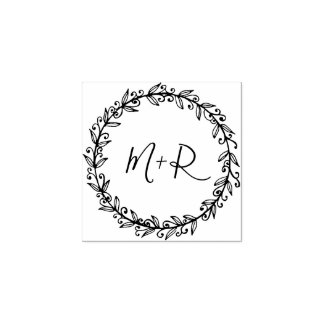 Make Your Own Custom Calligraphy Wedding Initials Rubber Stamp