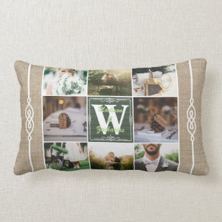 Make Your Own Rustic Wedding Instagram Collage Lumbar Pillow
