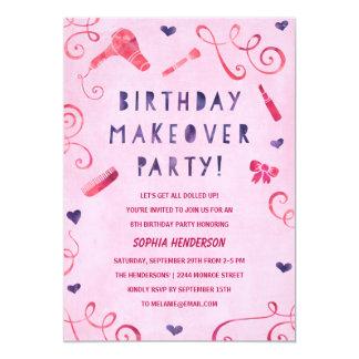 Makeover Party   Pink & Purple Girls Birthday 13 Cm X 18 Cm Invitation Card