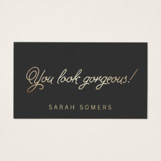 Makeup and Hair Stylist Gold Script Beauty Business Card