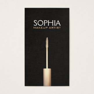 Makeup Artist Faux Gold Foil Mascara  Logo Business Card