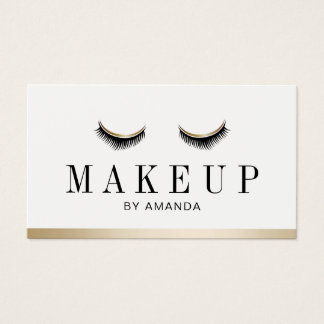 Makeup Artist Gold Border Lashes Salon Appointment Business Card